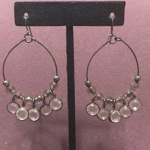 Gunmetal with clear drop hoop earrings. 2/$10 Sale